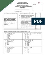 Prueba de Contenidos n°8 matemática 8vo formato A