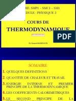 Cours de Thermodynamique S1