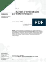 Production d'Antibiotiques Par Biotechnologies