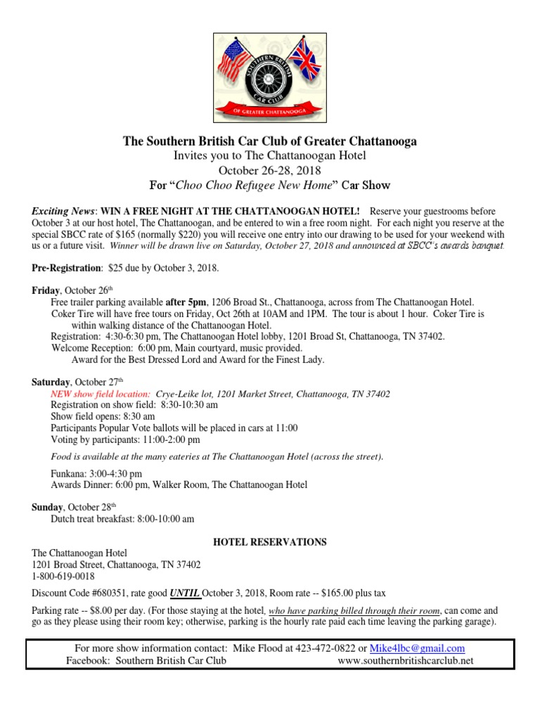 New Car Show Information Sheet Chattanooga - Car show chattanooga 2018