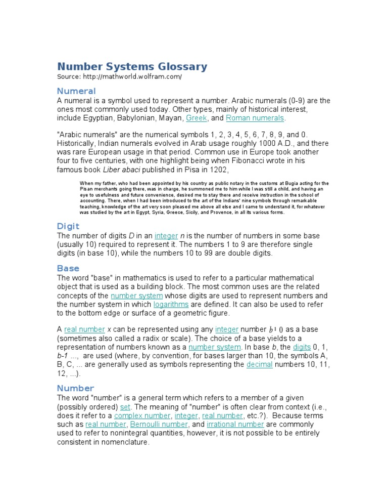 Number Systems Glossary Numbers Mathematical Notation