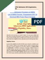 IGNOU PhD Mphil Admission 2018 Application