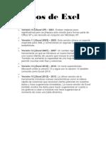 Versiones Excel