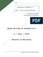Proposta de Resolução Do Exame Nacional de Matemática a - 2.ª Fase de 2018
