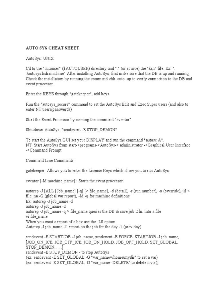 AUTOSYS CHEAT SHEET PDF