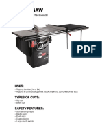 table saw fact sheet