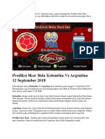 Prediksi Skor Bola Kolombia vs Argentina 12 September 2018