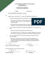 Chustz Written Warning 060517
