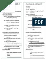 Cuestionario de preguntas para calificar al docente