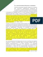 Evolución y Crisis Del Sistema Financiero Colombiano