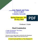 Final Exam Random signals and noise