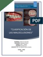 Informe 4 Clasificación de Las Maloclusiones