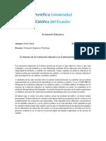 Historia de La Evaluacion en Latinoamerica y Ecuador