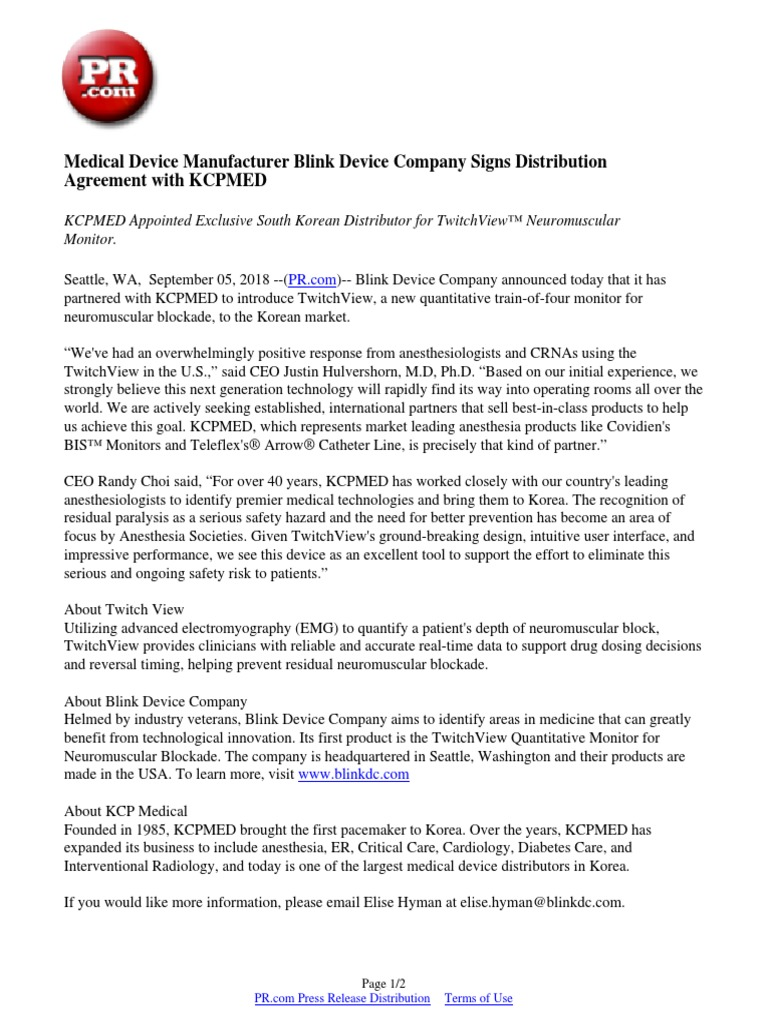 Medical Device Manufacturer Blink Device Company Signs