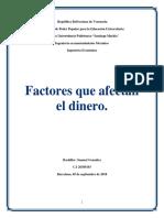 Factores Qiue Afectan El Dinero