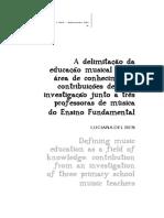 A Delimitação Da Educação Musical Como Área de Conhecimento