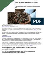 Exportación de Alimentos Peruanos Sumaría US