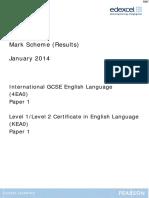 January 2014 MS - Paper 1 Edexcel English Language (a) IGCSE