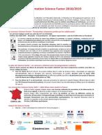 Fiche Présentation Science Factor 2018-2019