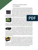 Datos Para Una Instalación de Energía Fotovoltaica