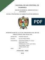 Análisis Del Presupuesto 2018-Perú