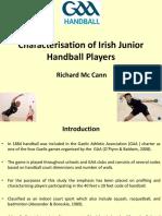 Richard McCann Characterisation of Irish Junior Handball Players