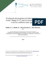 """Evaluación del programa de Educación Emocional """"Happy 8-12"""" para la resolución asertiva de los conflictos entre iguales"""