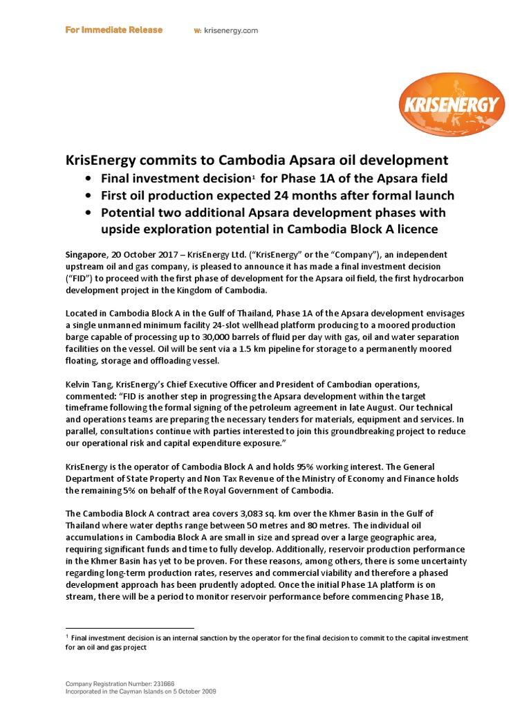KrisEnergy CBA FID 20Oct2017 | Cambodia | Petroleum