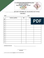 Ficha de Inscripción y Nómina de Jugadores de Basquet Mixto