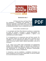 Elecciones 2018 Tribunal de Honor Declaración 01