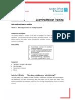 Learning Mentor Training