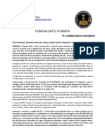 2018-08-08 Italian Press Release - UN SWISSINDO OWNER OF WORLD BANK GROUP INVESTIGATED ON FALSE CHARGES!
