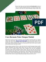 Cara Bermain Poker Dengan Mudah
