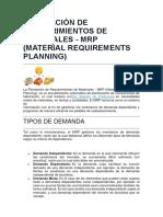Planeación de Requerimientos de Materiales Und 3 Ale