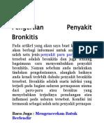 Tips Bagaimana Cara Menyembuhkan Penyakit Bronkitis