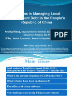 Reforms in Managing Local Government Debt in the People's Republic of China