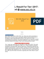 Ssc Chsl Result for Tier i 2017