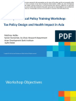 Workshop Objectives - Overweight and Obesity in Asia and the Pacific