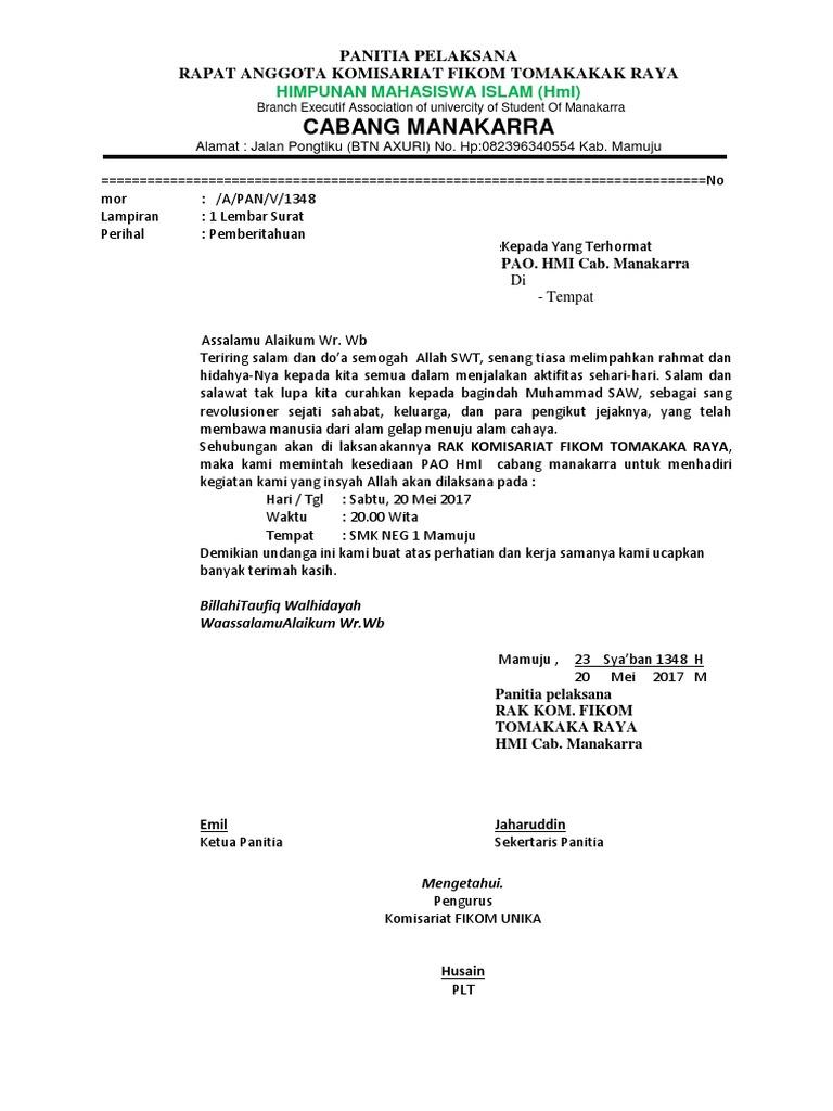Contoh Surat Kecabang Hmidocx