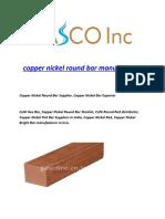 Copper Nickel Round Bar Manufacturer