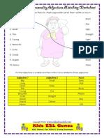 Adjectives wordsheet