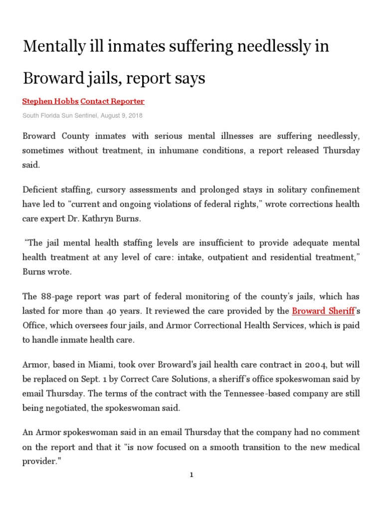 Mentally Ill Inmates Suffering Needlessly in Broward Jails