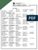 September 8, 2018 Yahrzeit List