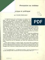 Rhetorique Et Politique. Perelman