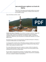 2 Petroleras Firman Acuerdo Para Explorar en El Norte de Bolivia
