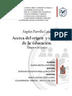 ACT. 5 Resumen de la lectura Acerca del origen  y sentido de la  educación..docx
