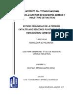Tesis Estudio Preliminar de La Pirólisis Catalitica de Desechos Plásticos Para La Obtención de Combustibles