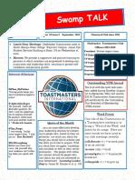 Swamp Talk, Okefenokee Toastmasters Club Newsletter, September 2018