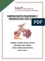 Surfactante Pulmonar y Neumocitos Tipo i y II