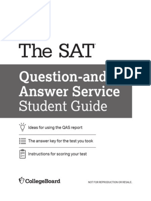2018 SAT Question-Answer Student Guide pdf | Sat | Behavior Modification